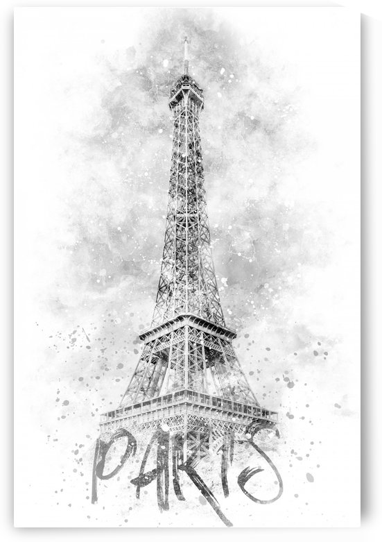 Monochrome Art EIFFEL TOWER | watercolor by Melanie Viola