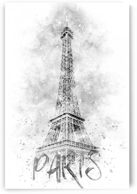 Monochrome Art EIFFEL TOWER | watercolor by Melanie Viola