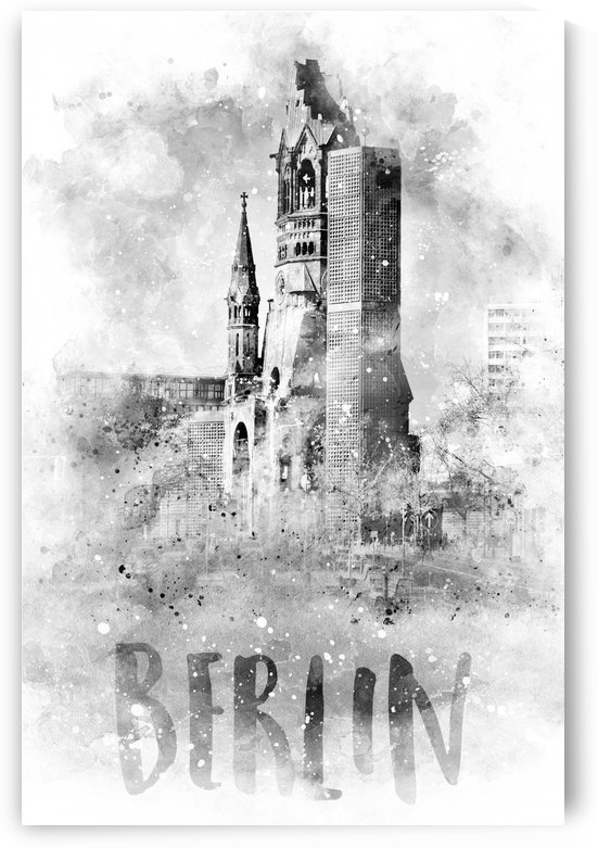 Monochrome Art BERLIN Kaiser Wilhelm Memorial Church | watercolor by Melanie Viola