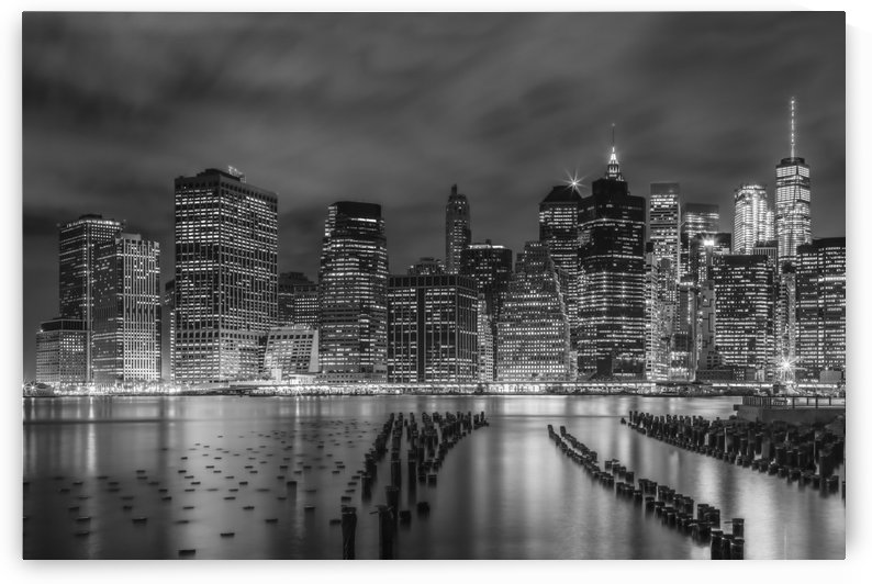 NEW YORK CITY Monochrome Night Impressions  by Melanie Viola