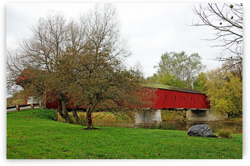 Covered Bridge Over The Grand River by Deb Oppermann