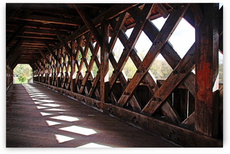 Wood Lattice Covered Bridge by Deb Oppermann