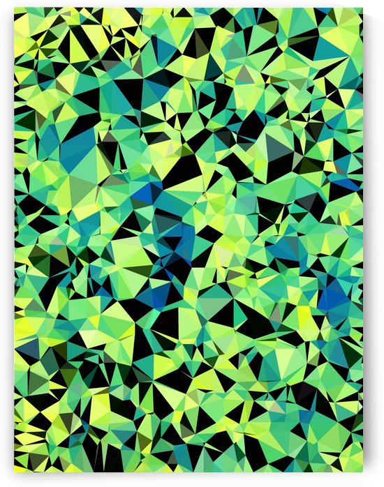 geometric triangle pattern abstract in green blue black by TimmyLA