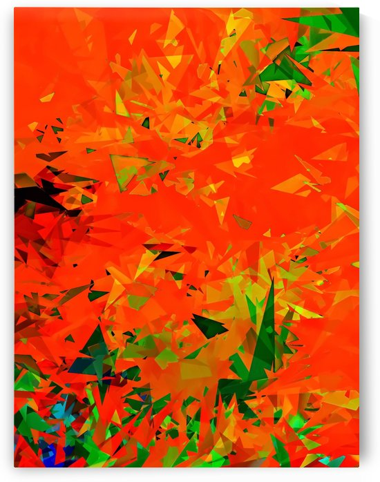 geometric triangle pattern abstract in orange green by TimmyLA