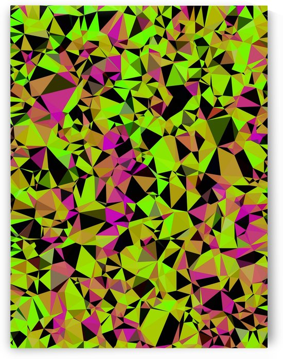 geometric triangle pattern abstract in green black pink by TimmyLA