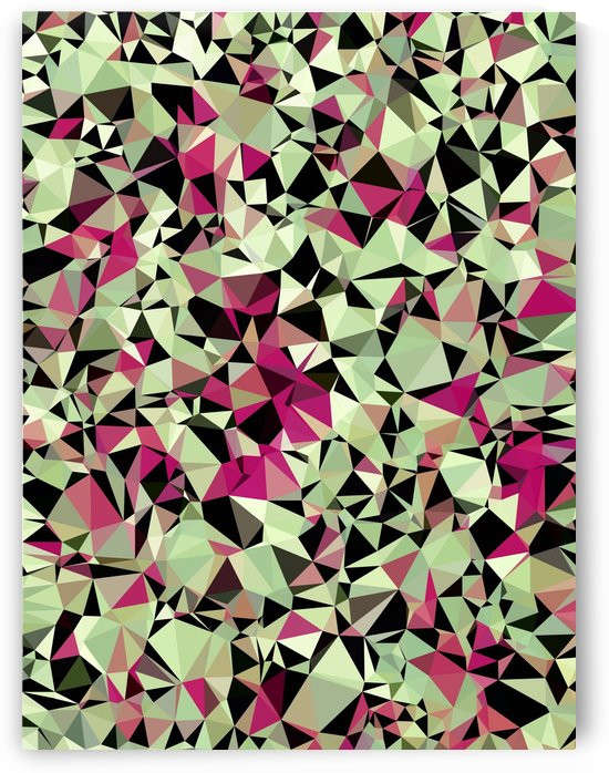 geometric triangle pattern abstract in green pink black by TimmyLA