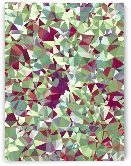 geometric triangle pattern abstract in green red by TimmyLA