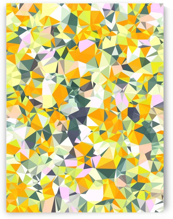 geometric triangle pattern abstract in orange green yellow by TimmyLA