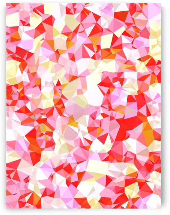 geometric triangle pattern abstract in pink red orange by TimmyLA