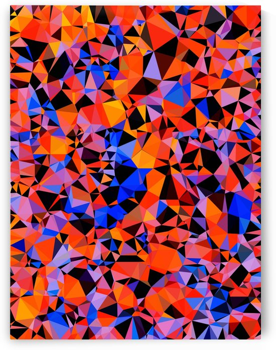 geometric triangle pattern abstract in blue orange red by TimmyLA