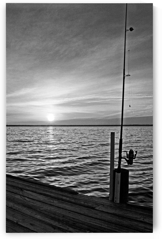 BW Fishing Pole Sunset by Deb Colombo