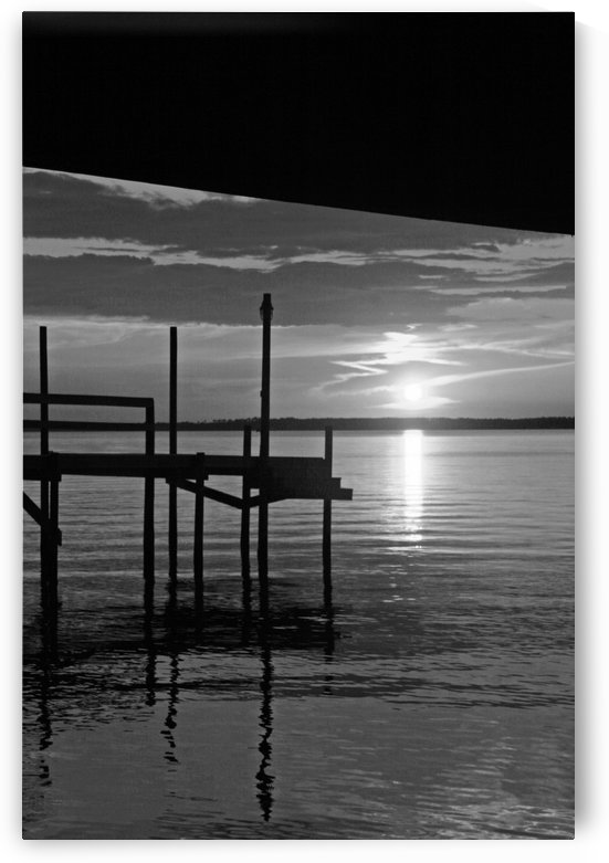 BW Sunset on the Dock by Deb Colombo