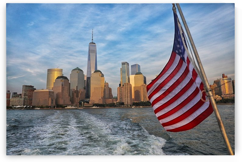 American Flag over New York City by Kaye