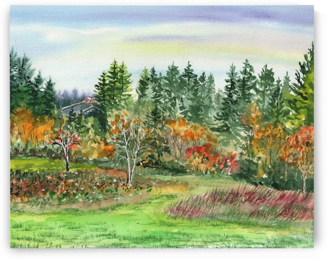 Impressionistic Watercolor Landscape by Irina Sztukowski