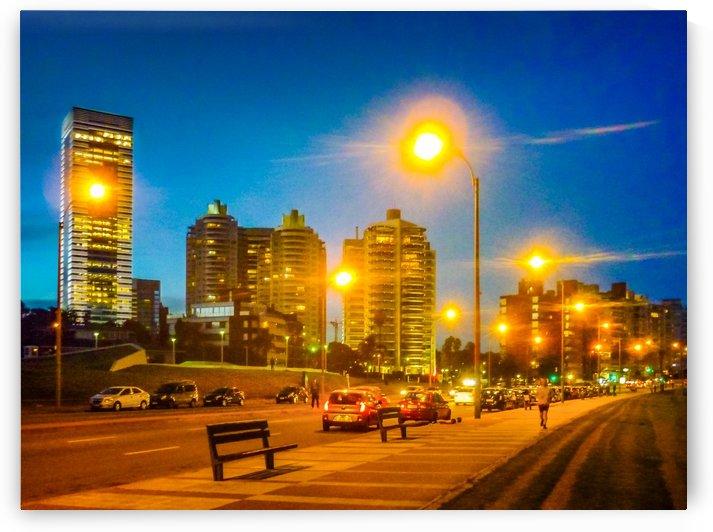 Night Scene Montevideo Cityscape by Daniel Ferreia Leites Ciccarino
