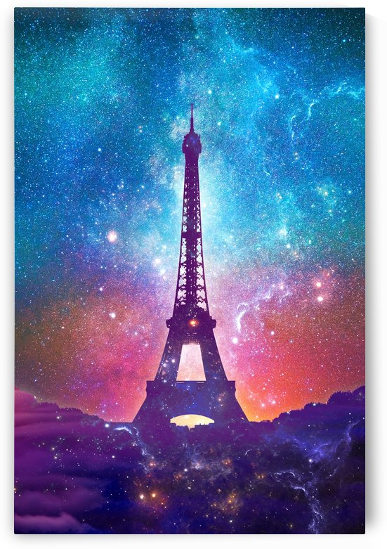 Eiffel Tower - Milky Way Collage by Art Design Works