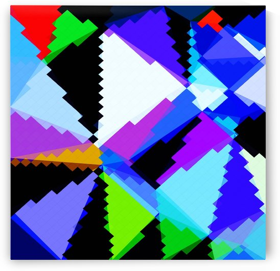 geometric triangle and square pattern abstract in blue purple green red by TimmyLA