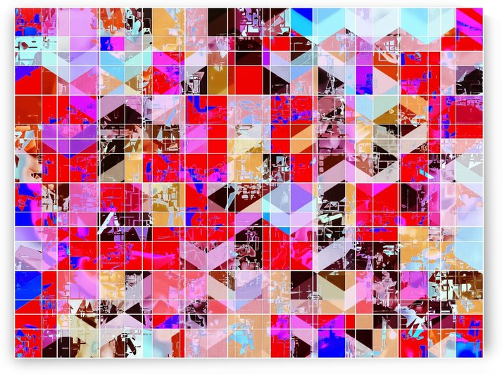 geometric square and triangle pattern abstract in red pink blue by TimmyLA