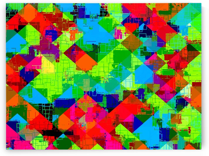 geometric square pixel pattern abstract in green red blue by TimmyLA