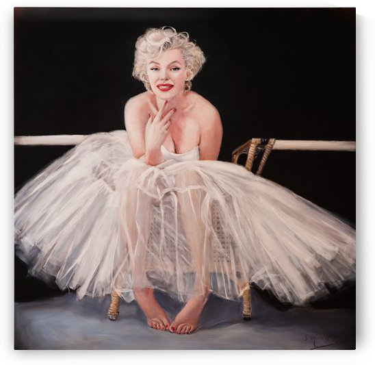 Marilyn ballerina sitting, 4822x4822, portrait oil painting 2 by Jocelyne maucotel