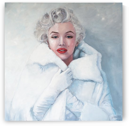 Marilyn in white mink coat  by Jocelyne maucotel