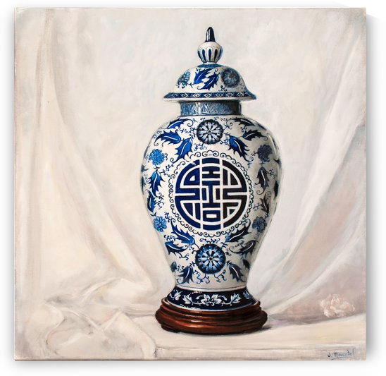 Blue and white vase  by Jocelyne maucotel