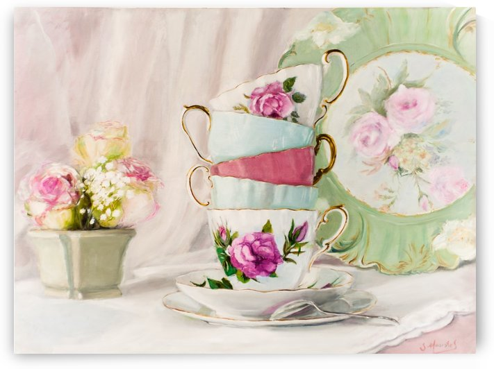 Pastel cups and roses  by Jocelyne maucotel