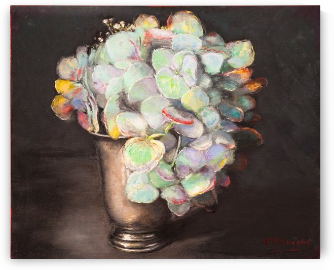 Hydrandea in pewter tumbler  oil painting 1 by Jocelyne maucotel