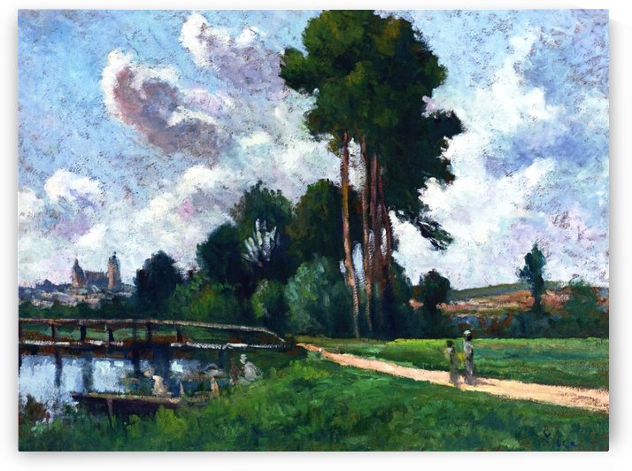 Auxerre, Landscape of a Riverbank by Maximilien Luce