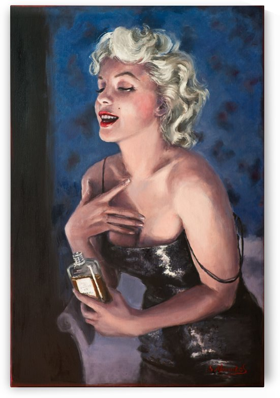 Marilyn in CHANEL 5 oil painting portrait 1 by Jocelyne maucotel