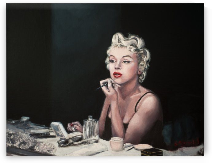 Marilyn backstage   oil painting  portrait  by Jocelyne maucotel