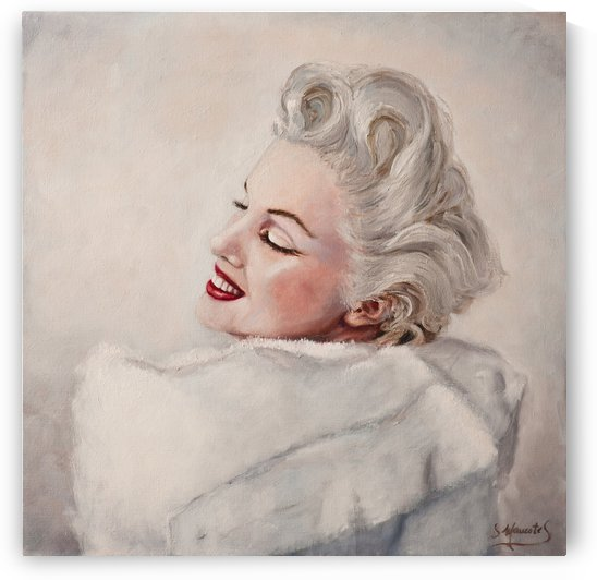 Marilyn in white mink  portrait 1 by Jocelyne maucotel