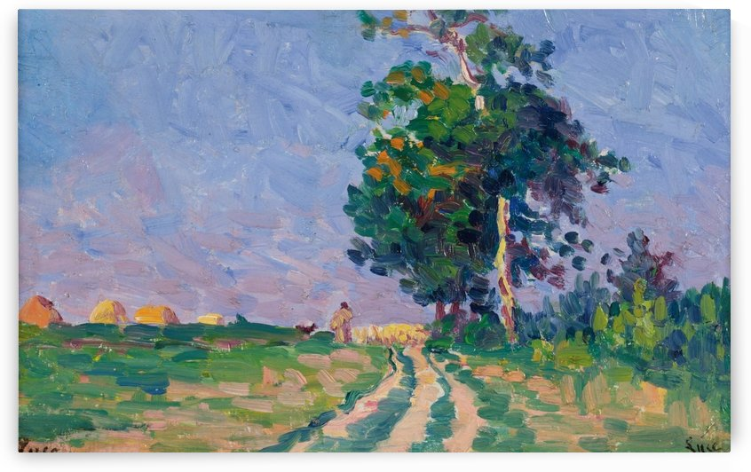 Shepherd with Flack on the Road in the Outskirts of Moulineaux by Maximilien Luce
