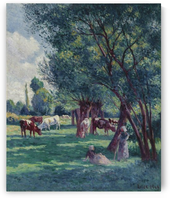 Bessy-sur-Cure, Peasants Looking for the Cows by Maximilien Luce