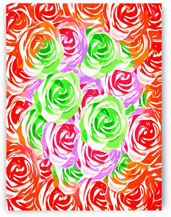 colorful rose pattern abstract in red pink green by TimmyLA