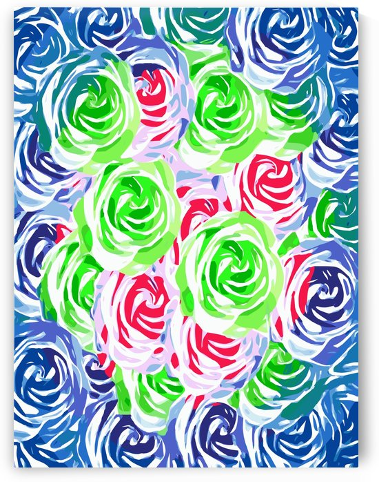 colorful rose pattern abstract in pink green blue by TimmyLA