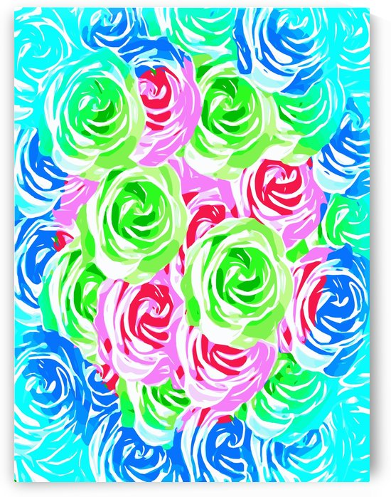colorful rose pattern abstract in pink blue green by TimmyLA