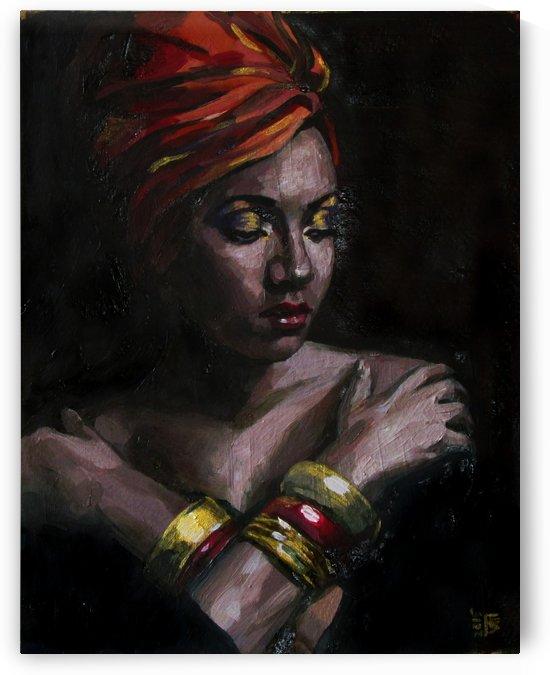 Girl with golden bracelets  by Kateryna Bortsova