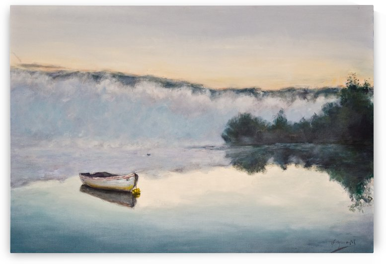 Fog on the lake 2 oil painting  waterscape 1 by Jocelyne maucotel