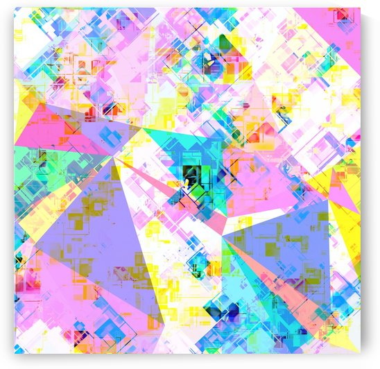 geometric triangle pattern abstract background in pink blue yellow green by TimmyLA