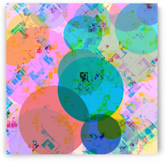 geometric circle pattern abstract in blue pink green yellow by TimmyLA