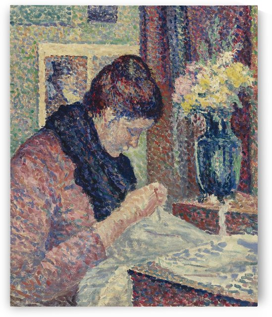 Woman Sewing by Maximilien Luce