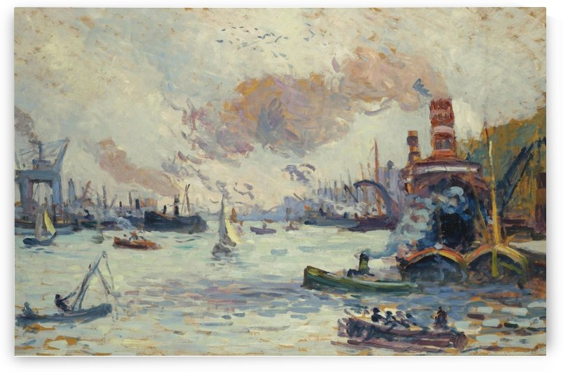 The Boats in Front of Trees and Bridge by Maximilien Luce