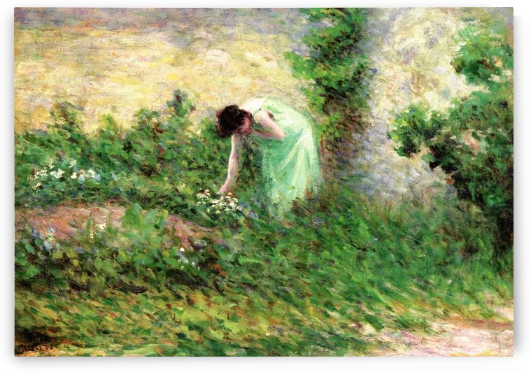 Gisors, Woman Picking Flowers by Maximilien Luce