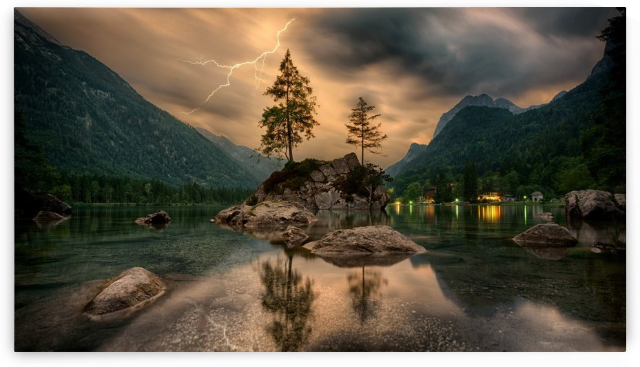 nature, waters, lake, island, landscape, thunderstorm, tree, clouds, flash, alpine, panorama, mirroring, bergsee, mood, by fabartdesigns