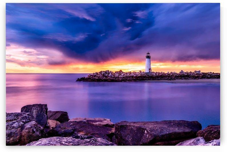 santa cruz, lighthouse, california, light, sea, ocean, bay, water, sky, clouds, sunset, dusk, beautiful, rocks, rocky, nature, outdoors, by fabartdesigns