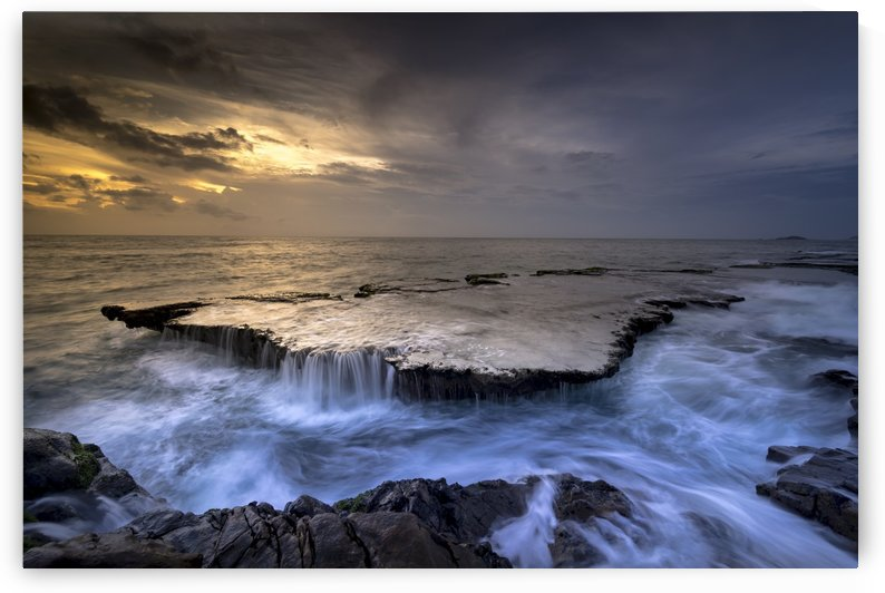 sea, coast, cascade, reef, tide, water, flow, ocean, shore, evening, by fabartdesigns