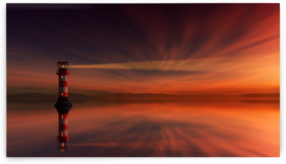 sunset, lighthouse, dawn, dusk, sky, abendstimmung, clouds, rays, light, evening sky, afterglow, landscape, water, sea, ocean, lake, mood, mirroring, reflection, by fabartdesigns