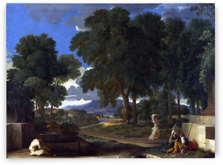 Landscape with a Man washing his Feet at a Fountain by Nicolas Poussin