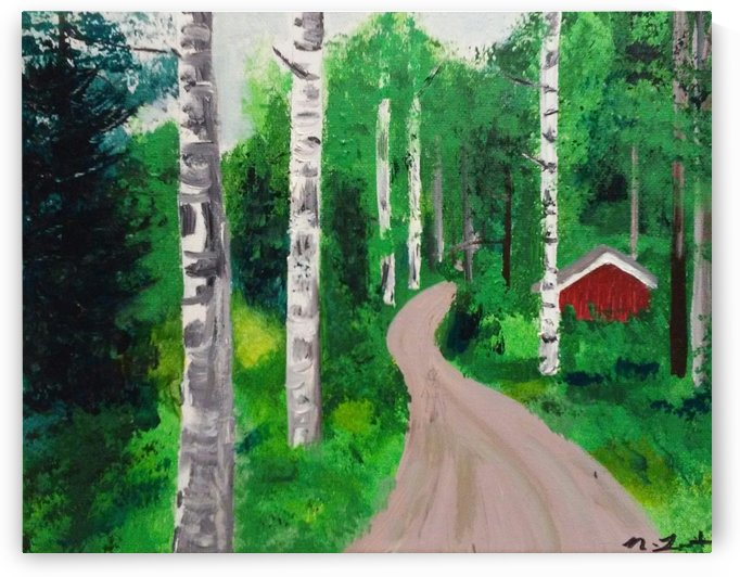 Birch Forest Trail by Ninabana Art Studio